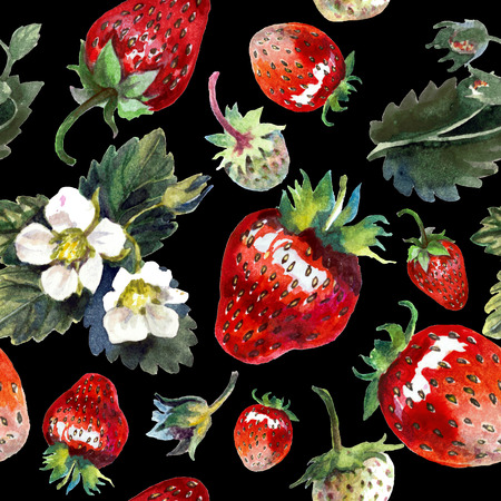 Strawberries isolated on black. Watercolor painting, pattern
