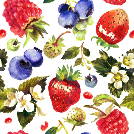 Berries isolated on white background. Watercolor painting, pattern, print. Blueberry, raspberry, strawberry