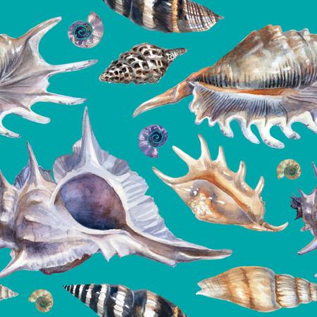 Watercolor pattern with seashells on a blue background.