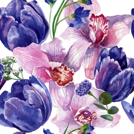 Floral pattern with tulips and orchids. Watercolor painting Stok Fotoğraf