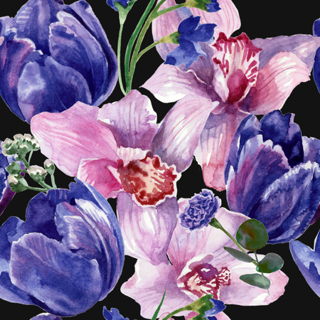 Floral pattern with tulips and orchids. Watercolor painting Reklamní fotografie