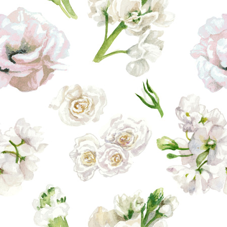 Pastel colors, floral pattern, white roses isolated on white background. Watercolor painting Reklamní fotografie