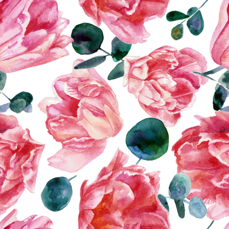 Colorful floral pattern, pink tulips isolated on white background. Watercolor painting Reklamní fotografie - 76570581