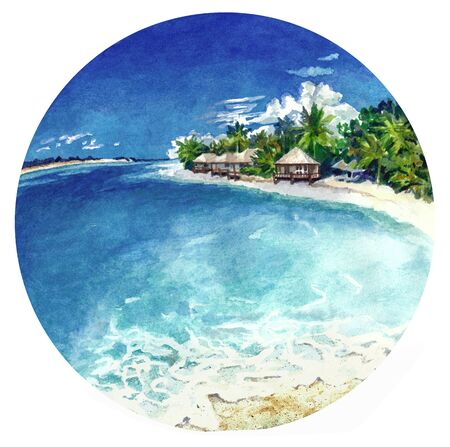 Watercolor landscape in a circle. Holiday on the sunny beach. Painting