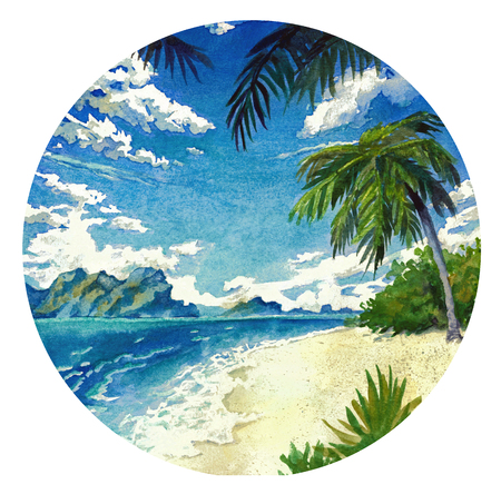 Watercolor landscape in a circle. Sunny beach and the sea. Stock Photo