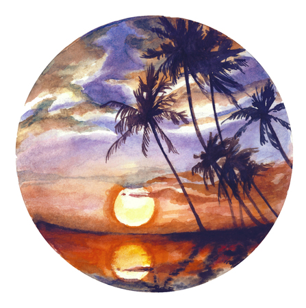 Watercolor landscape in a circle. Sunset with palm trees in an exotic location
