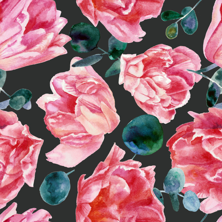 Colorful floral pattern, pink tulips isolated on black background. Watercolor painting