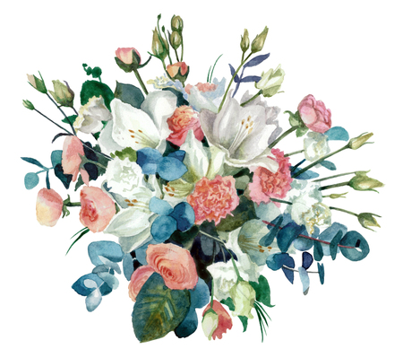 Bouquet with amaryllis, buttercups and eustoma cut out from the background. Watercolor painting