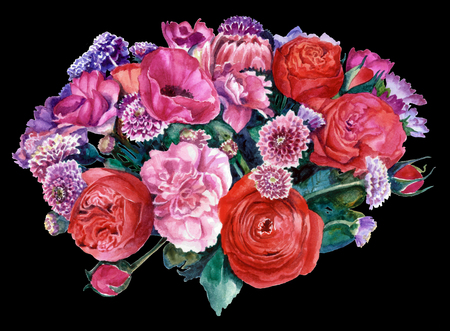 A bouquet of flowers in red and pink, on black background. Watercolor painting