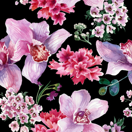 Colorful pattern, pink flowers isolated on black background. Watercolor painting Stock Photo