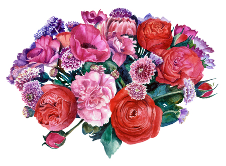 A bouquet of flowers in red and pink, cut out from the background. Watercolor painting