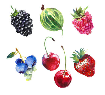 Set of different berries. Watercolor painting, isolation on a white background