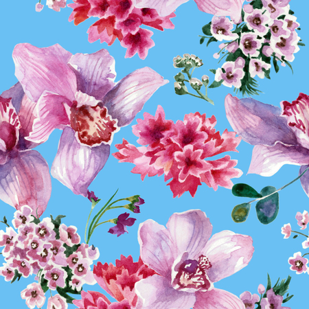 Colorful pattern, pink flowers isolated on blue background. Watercolor painting Reklamní fotografie