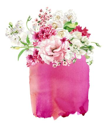 Floral composition against the backdrop of pink watercolor stain, isolated on white. Hand painting