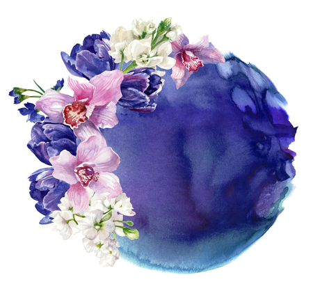 Floral composition against the backdrop of violet watercolor stain, isolated on white. Hand painting