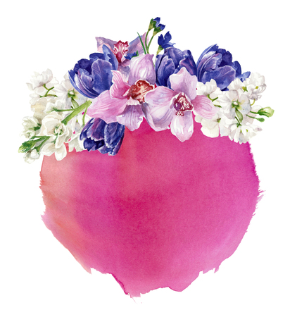 floral composition on watercolor background