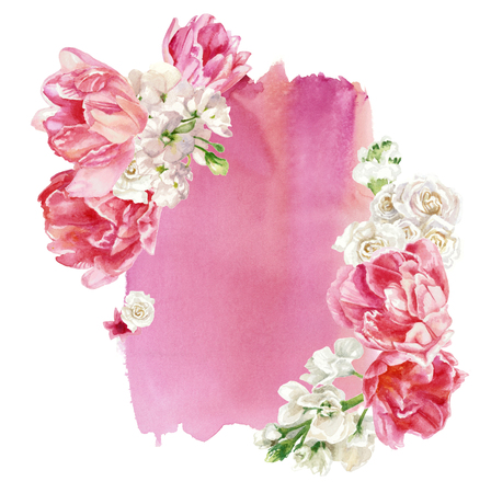 Floral composition against the backdrop of pink watercolor stain, isolated on white. Hand painting. Pastel colors Reklamní fotografie