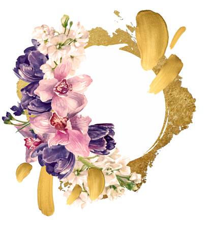 Floral composition with gold decoration, isolated on white. Hand painting, watercolor Reklamní fotografie - 75014607
