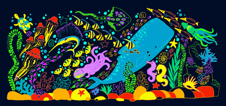 The sea world composition with sperm whale. The bottom of the sea. The ocean and marine life. Coral reef, sand, and a fish. Underwater world. Illustration