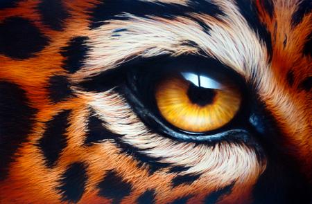 Leopards eyeAirbrush painting. Reklamní fotografie