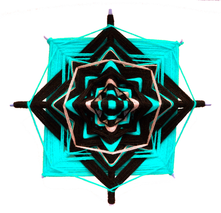 tantra: Wicker mandala on white background. Blue and black gamma Stock Photo