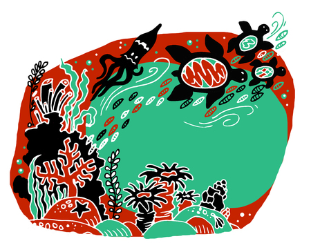 The bottom of the sea. The ocean and marine life. Coral reef, sand, and a fish. Underwater world. Color sketch Reklamní fotografie