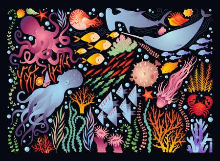 Big set - the underwater world. Colorful vector illustration.
