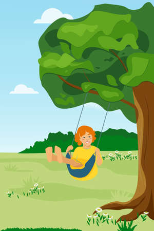 Cute cartoon vector illustration in flat style. Happy joyful girl riding a swing in the park, in the garden. Vektorové ilustrace