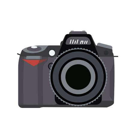 Vector illustration of a camera is drawn in a flat style. Ilustración de vector
