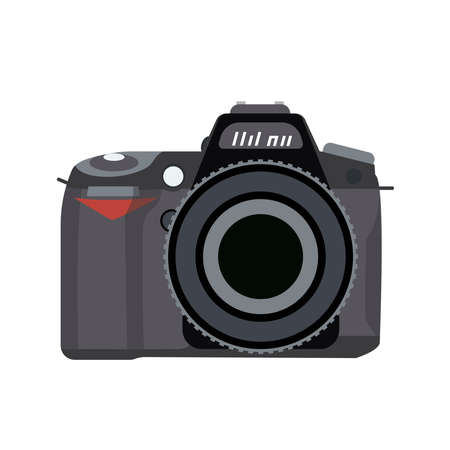 Vector illustration of a camera is drawn in a flat style. Vetores