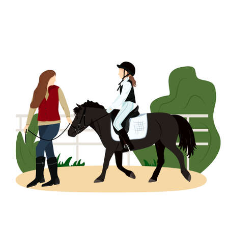 Vector illustration of equestrian sport in flat style. The girl is riding a pony. Woman leads the horse under the knots. Realistic image. Horseback riding. Horse riding lessons