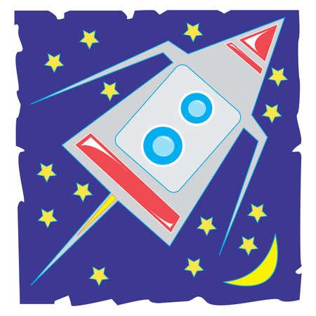 illustration: Spaceship.Isolated.Vector illustration.