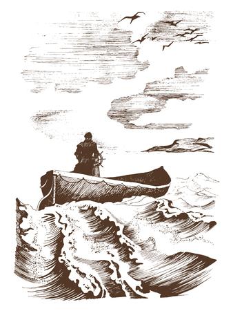 Captain boat, graphic seascape.