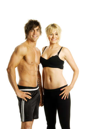 fit couple: Man and woman in gym wear on a white background