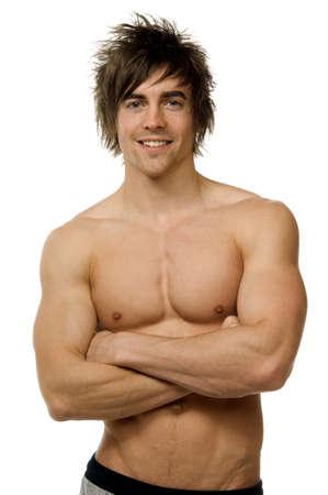 muscle shirt: Hombre joven aislado en un fondo blanco