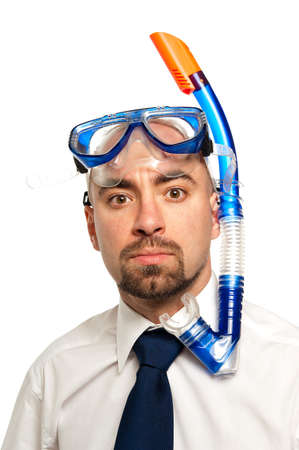 Businessman isolated on a white background wearing a snorkel and mask Stock Photo