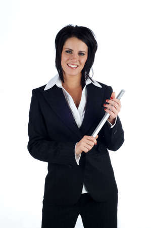 Business woman smiling and holding a metal ruler isolated on a white background