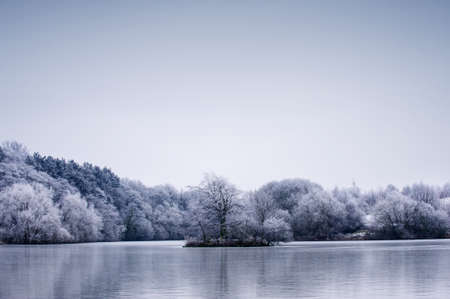 Frosty winter tree landscape against a dull blue sky with reflection in the water