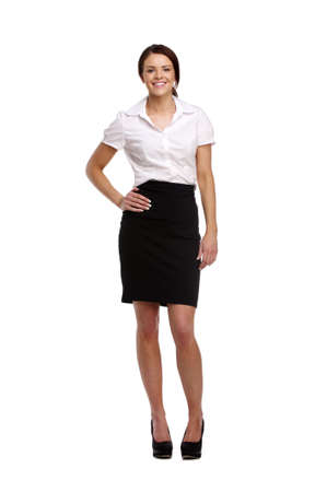 Beautiful brunette Business-Frau auf einem wei�en Hintergrund