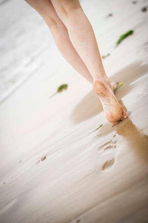 adult footprint: Close up of a woman Stock Photo
