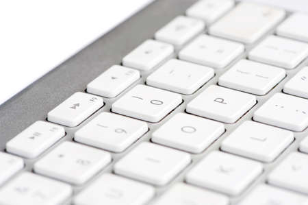 Apple mac white Keyboard focused on the number 0 Stock Photo