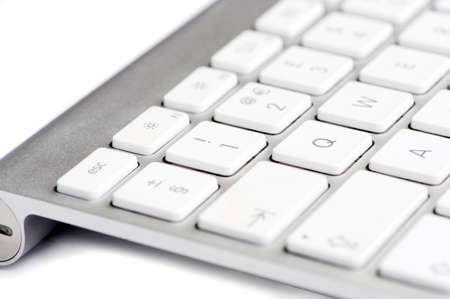 Apple mac white Keyboard focused on the number 1