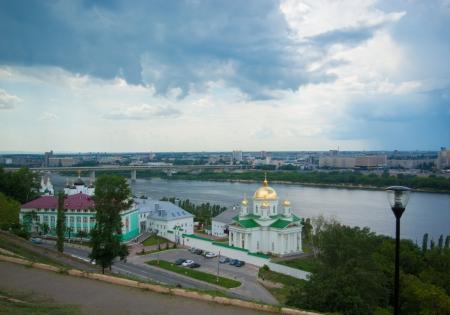 annunciation: General view on Alekseevskaya Church of the Annunciation Monastery Nizhny Novgorod and Volga river Stock Photo