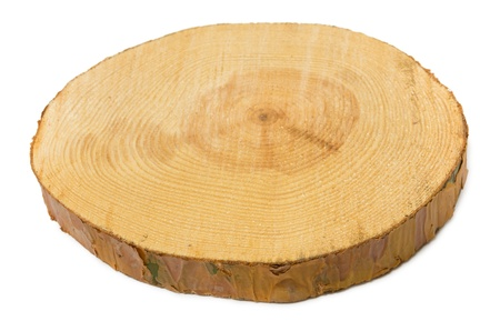 Sawn pine wood isolated on white background. View angle photo