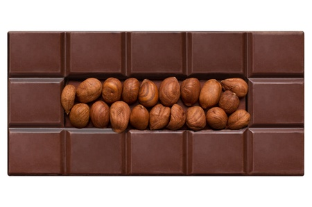 Chocolate tiles, filled with hazelnuts isolated on white background Stock Photo - 20557686