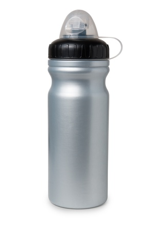 bootle: Grey plastic water bottle isolated on white background