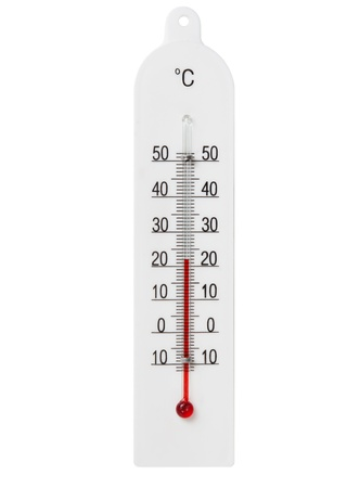 Simple domestic glass thermometer isolated on white background photo