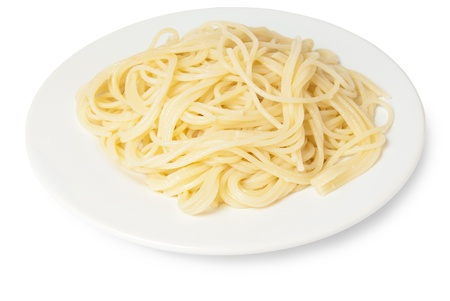 spaghetti on a plate isolated on white background