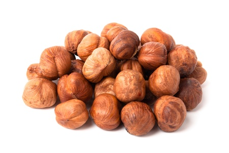 Heap of hazelnuts usolated on white background Stock Photo - 20640943