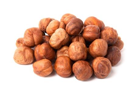 Heap of hazelnuts usolated on white background Stock Photo - 20640943